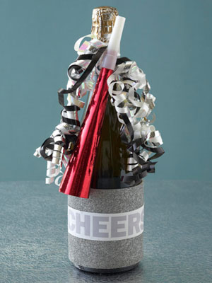 Noisemaker and Ribbons Wine Wrap