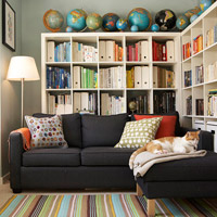 Colorful room with bookshelves