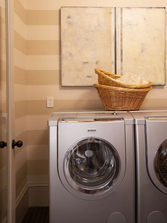 laundry room washer dryer striped walls