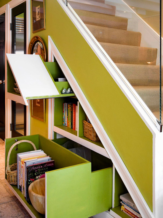 Pull-out shelves underneath staircase