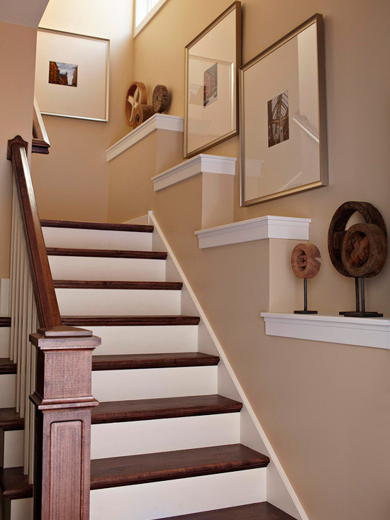 Stair-step shelves