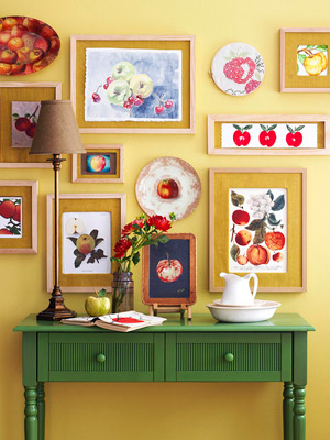 Paintings on painted wall