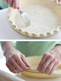 Pricking the pastry and lining pastry with foil