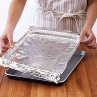 Lining a pan with foil