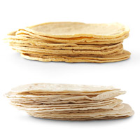 Top: small stack of corn tortillas; bottom: small stack of flour tortillas
