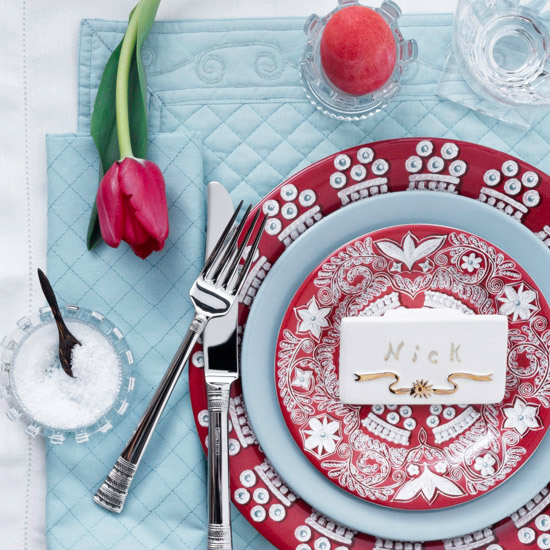 Red-and-blue Easter table setting