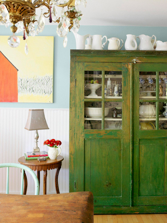 Faded green freestanding armoire