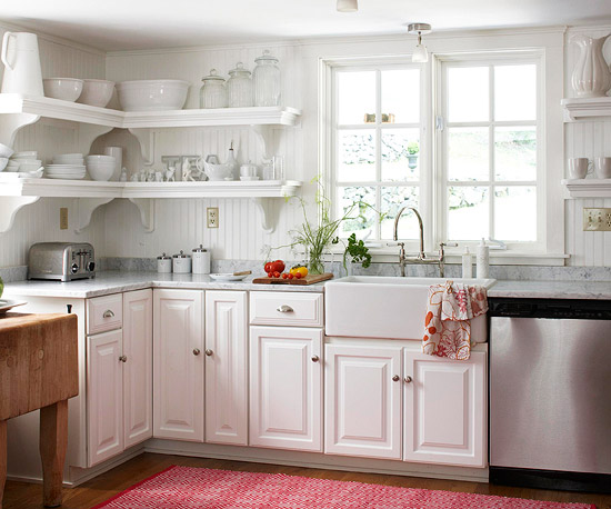 White kitchen with food accents