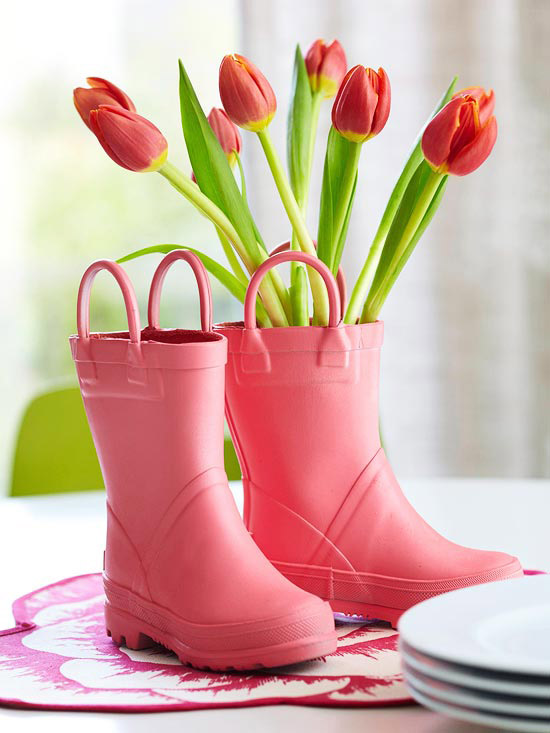 Tulips in rain boots