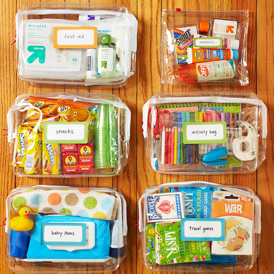 Clear, zipper, baggie, storage, organize, label, declutter