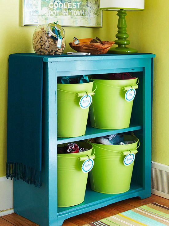 Storage, shelf, bucket, label, organize, declutter