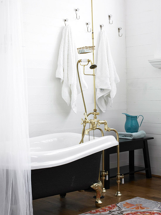 Claw-foot tub in bathroom
