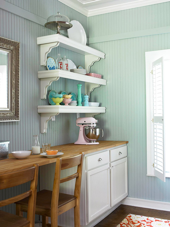 Kitchen shelves with colorful dishes