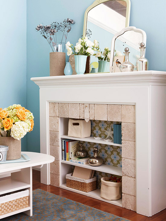 White fireplace w/ shelves