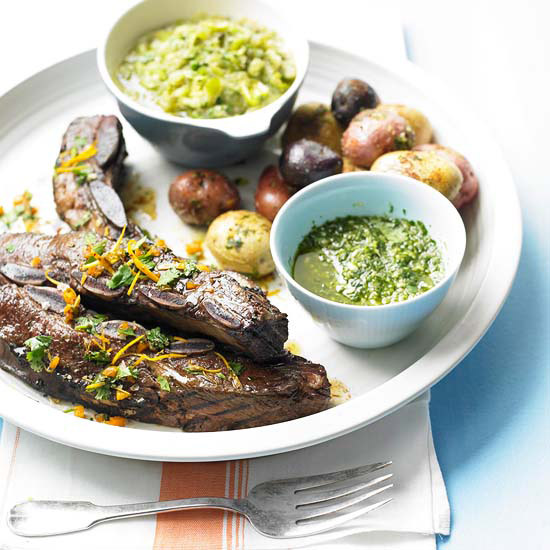 Barbecued Beef Short Ribs, Fresh Tomatillo Salsa, Skillet Wrinkled Potatoes, and Cilantro Pesto with Almonds