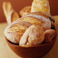Artisan Bruschetta breads in wood bowl