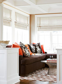Brown orange sofa