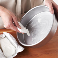 Greasing cake pan