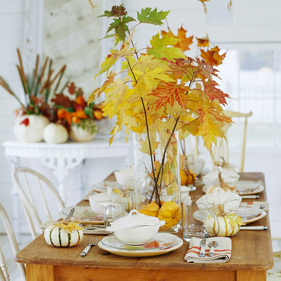 Leaf Vase with Pumpkins