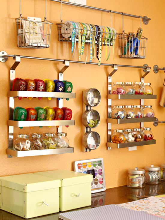 Bright Basement Craft Room