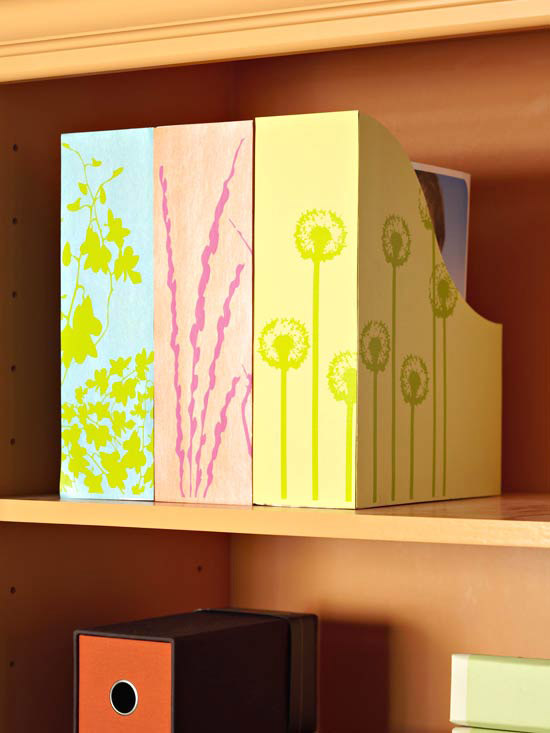 Magazine files covered with bright scrapbook paper