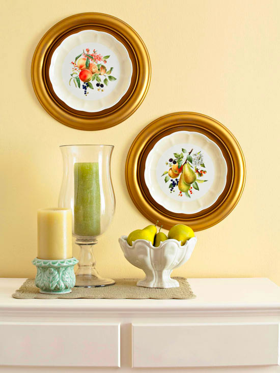 Framed medallion china plates