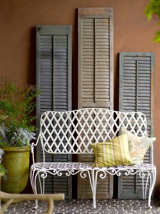 Salvaged shutters white bench