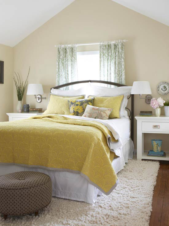 yellow neutral bedroom
