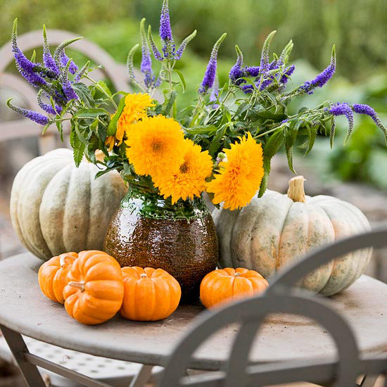 Pumpkins and Wildflower Arrangement