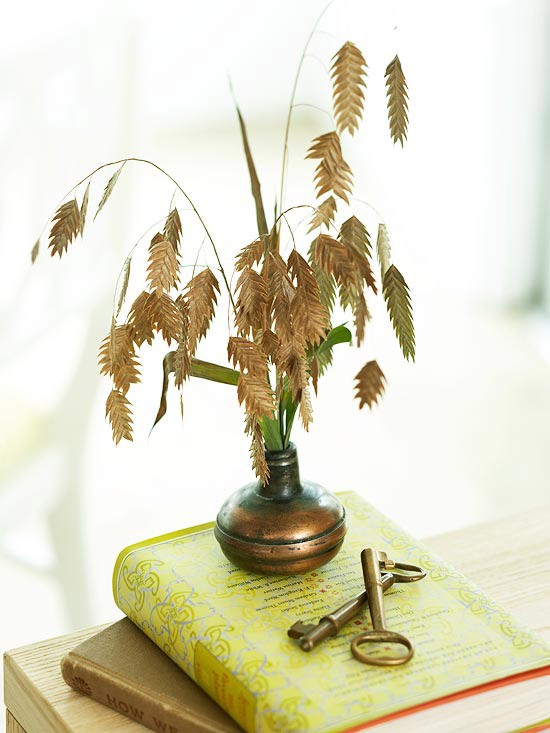 Leaf branch in vase