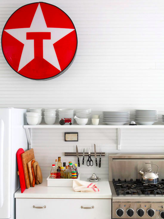 Red sign white kitchen