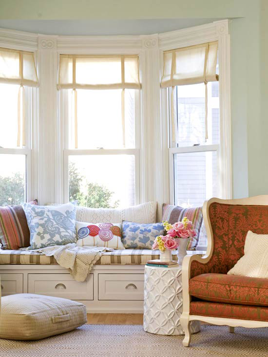 Bay window with bench, light colors