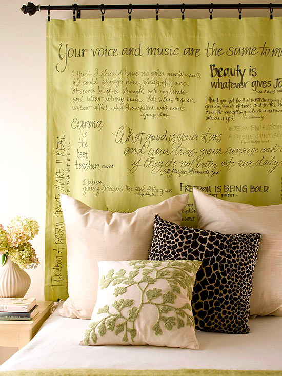 Curtain panel with words