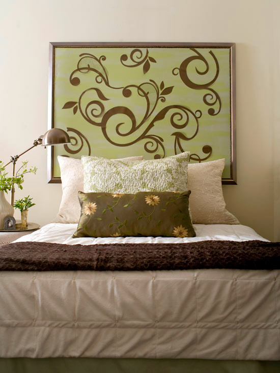 Decal artwork used as headboard