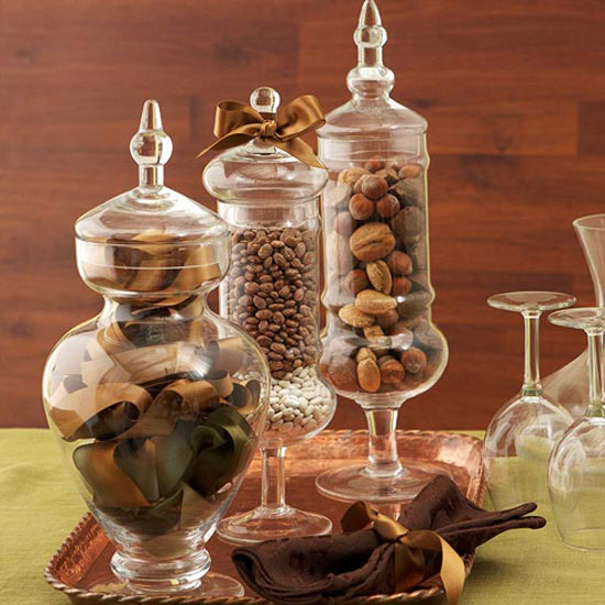 Glass containers on a copper tray