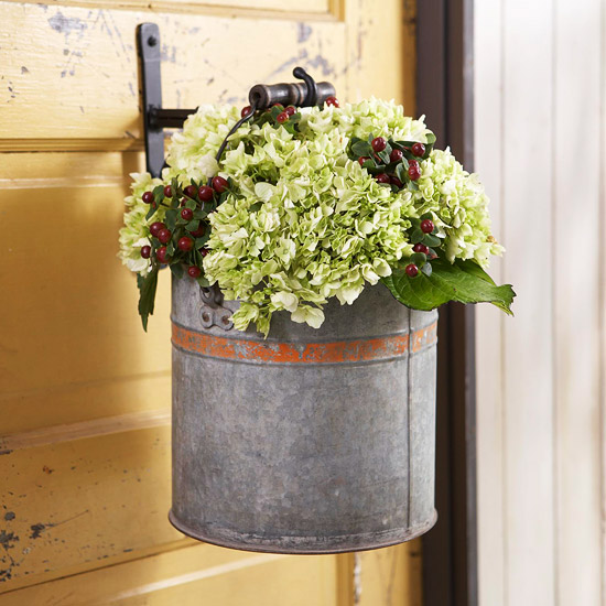 Decorative Bucket on Door