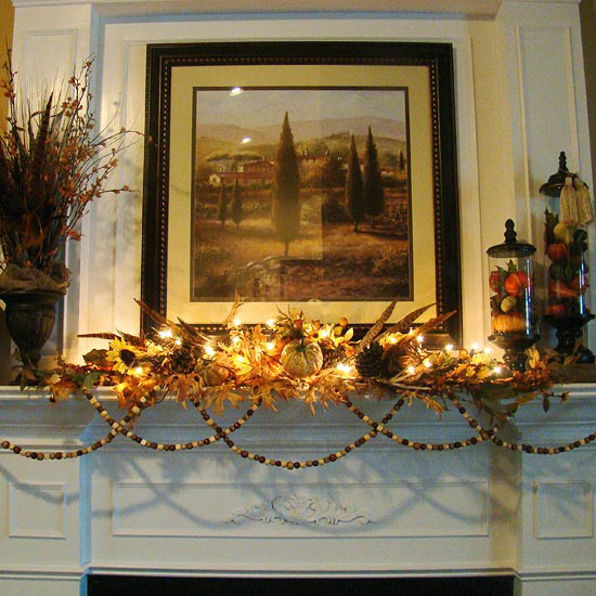 Feathers and Foliage Fall Mantel