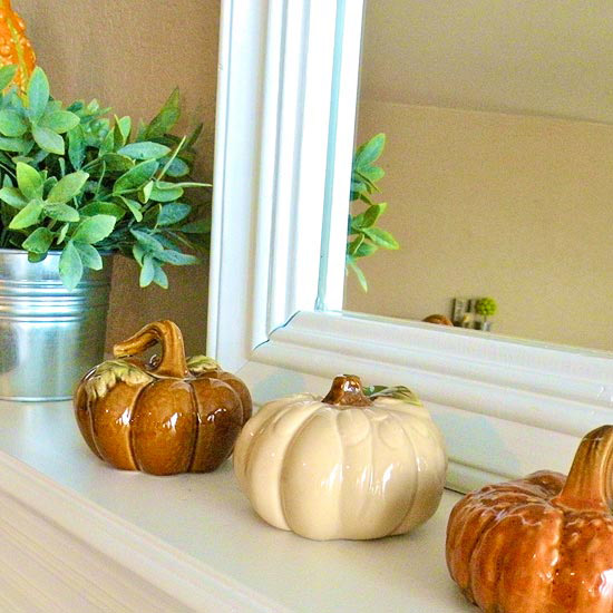 Ceramic Pumpkins Fall Mantel
