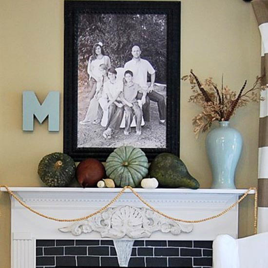 The Nester Fall Mantel with Pumpkins and Gourds