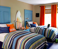 Painted blue doors for headboards
