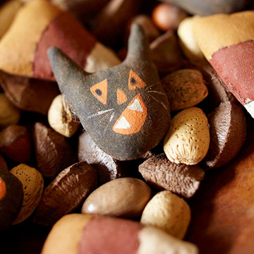 Felt candycorn and black cat decorations