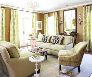 Cozy living room with french doors