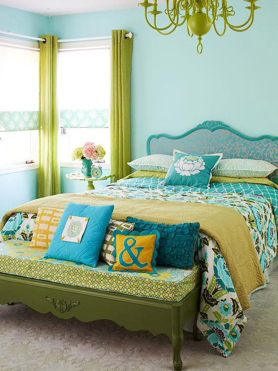 Blue and green room, picture frame headboard