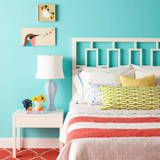 Cutout white headboard, blue walls