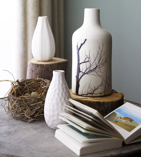Vase with paper transfer
