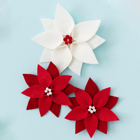 Felt Poinsettia do ornamento do Natal