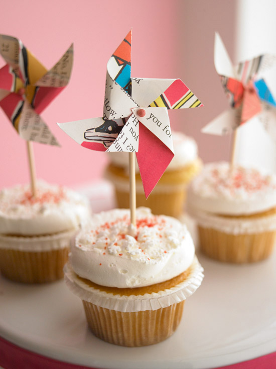 Pinwheels on cupcakes