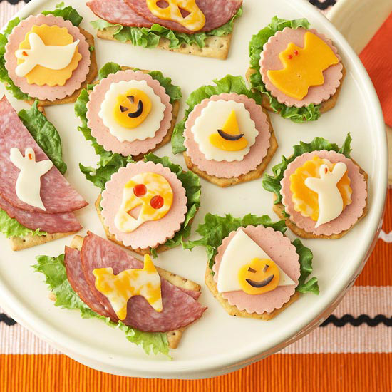 plate of Halloween appetizer crackers