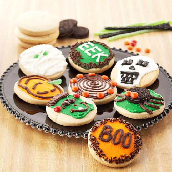 plate of decorated Halloween cookies