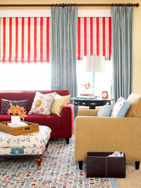 Red/white striped window shades
